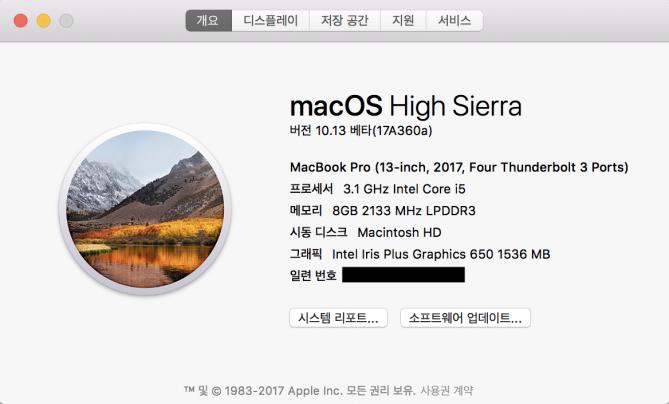 맥OS 하이시에라는 10.13 버전이다. 벌써 13차례 메이저 업데이트가 이뤄졌다는 의미다. - 최호섭 제공
